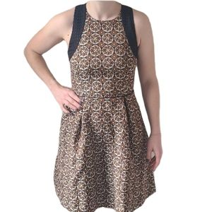 NWT H&M Brown Tapestry Vintage Style Dress 6